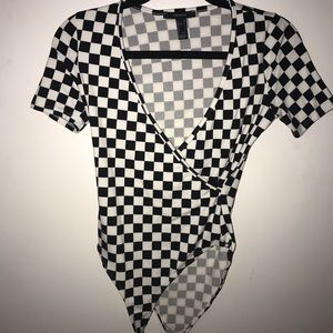 checkered bodysuit